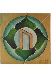 Runa Uruz malowana na drewnie sosnowym