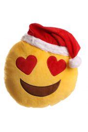 Świąteczna poduszka z emotikonem, zakochane oczy