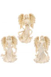 Kremowa figurka stojącego anioła 17cm