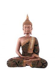 Siedzący tajski budda z przepaską - duży, złoty efekt