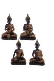 Siedzący tajski budda - średni, efekt zabytkowego złota i czerwi
