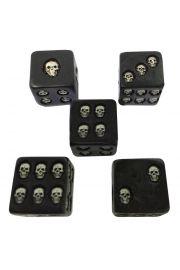 Kostki do gry Czarna Czaszka - 5 sztuk