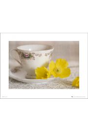 Vintage Tea Cup Yellow Flowers - art print