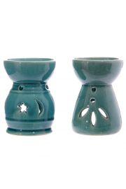 Ceramiczna turkusoa podstawka pod �wieczki z wyci�ciami w kszta�
