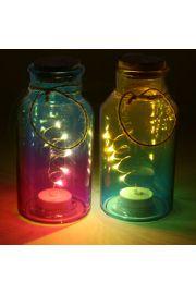 Kolorowa dekoracja LED w słoiku z korkową przykrywką
