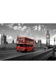 Westminster Bridge - Londyn - Czerwony Autobus - plakat