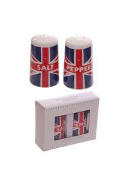 Porcelanowa solniczka i pieprzniczka z flagą Wielkiej Brytanii