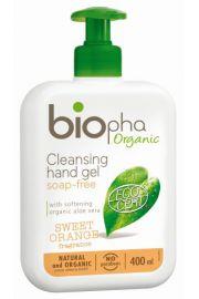 BIOpha, Żel do mycia rąk o zapachu pomarańczy, butelka z pomką, 400ml