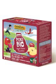 Poki - Przecier Jabłkowy Z Dodatkiem Czerwonych Owoców I Czarnej Porzeczki 100% Owoców Bez Dodatku Cukrów Bio 4X90 G - Danival