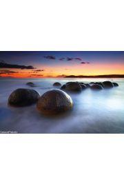 Kamienie Moeraki - Nowa Zelandia - plakat
