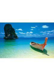 Phuket Tajlandia - Plaża i Łódka - plakat