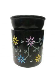 Kominek do aromaterapii zdobiony w kolorowe kwiaty