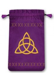 Aksamitny woreczek z symbolem Węzeł celtycki - mini (na karty tarota)