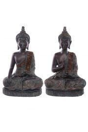 Siedzący tajski budda - duży, brązowy z efektem patyny
