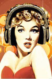 Marilyn Monroe w Słuchawkach - plakat