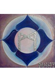Runa Mannaz malowana na drewnie sosnowym