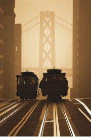 San Francisco Stare Tramwaje na tle Golden Gate - plakat