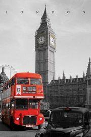 Londyn Westminster - Czerwony Autobus i Taxi - plakat