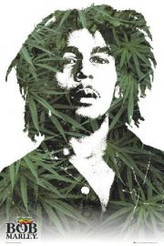 Bob Marley Liście Marihuany - plakat