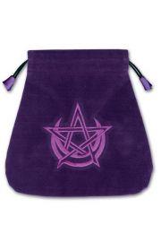 Aksamitny woreczek Wicca z pentagramem i Księżycem (na karty tarota)