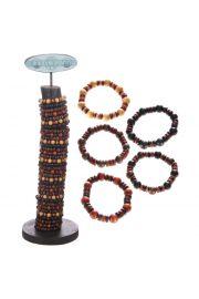 Stojak z elastycznymi bransoletkami (96 sztuk) - Drewniane