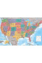 Mapa USA Stany Zjednoczone - plakat