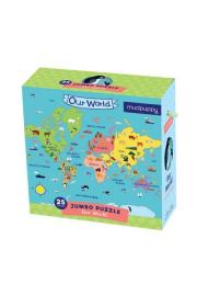 Mudpuppy, Puzzle Jumbo 25 elementów Mapa świata