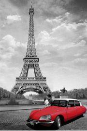 Paryż Pocałunek pod Wieża Eiffla - plakat
