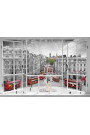 Londyn - widok z okna - Czerwone Autobusy - plakat
