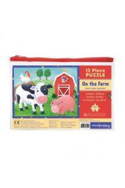 Mudpuppy, Puzzle w saszetce 12 elementów Farma