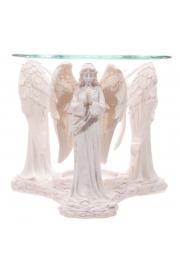 Biała figurka modlących się aniołów - podstawka pod świeczki z n