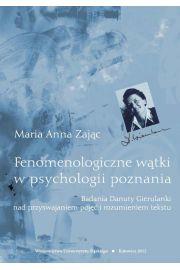 Fenomenologiczne w�tki w psychologii poznania