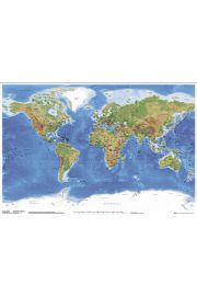 Fizyczna Mapa Świata z Podziałem Politycznym - plakat