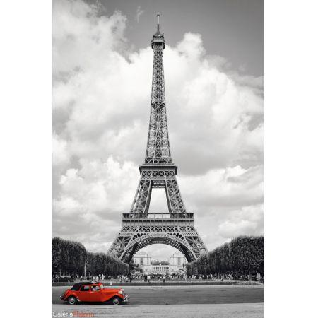 Paryż Wieża Eiffla Czerwony Samochód Plakat