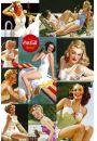 Coca-Cola Spragniona Dziewczyny na Plaży - retro plakat - Akty